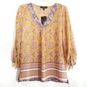NWT Fred David 3/4 Tie Sleeve Tunic style Top